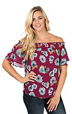 Peach Love Women's Burgundy Floral Off the Shoulder Fashion Top