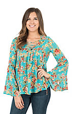 Peach Love Women's Turquoise Floral Print with Lace Up Front and Long Bell Sleeves Fashion Top