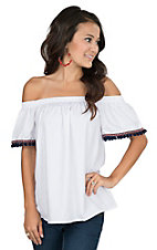 Fantastic Fawn Women's White with Navy Pom Pom Sleeves Fashion Top