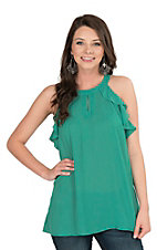 Peach Love Women's Sage with Ruffled Details Sleeveless Fashion Top