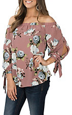 Peach Love Women's Mauve Floral Off the Shoulder Fashion Shirt