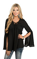 Peach Love Women's Black Peasant Fashion Top
