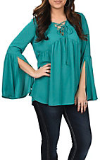 Berry N Cream Women's Turquoise Lace Up Peasant Fashion Shirt