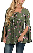 Berry N Cream Women's Olive Cactus Print Lace Up Peasant Fashion Shirt