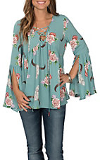 Peach Love Women's Mint Skull and Floral Print Baby Doll Long Sleeve Fashion Shirt