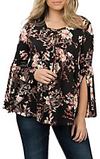 Berry N Cream Women's Black Floral Peasant Fashion Top