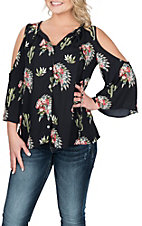 Peach Love Women's Black Cactus Headdress Cold Shoulder Fashion Shirt