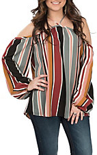 Berry N Cream Women's Black and Burgundy Striped Top