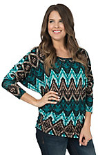 R. Rouge Women's Jade Multicolor Aztec Long Dolman Sleeve Fashion Top - Plus Size