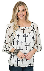 R. Rouge Women's White with Black Cross Print 3/4 Sleeve Chiffon Fashion Top
