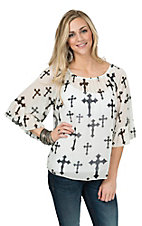 R. Rouge Women's White with Black Cross Print 3/4 Sleeve Chiffon Fashion Top- Plus Sizes
