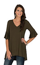 R. Rouge Women's Olive with Ruffled Sleeves Fashion Shirt
