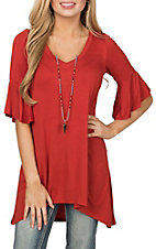 R. Rouge Women's Rust V-Neck Ruffle Sleeve Fashion Shirt