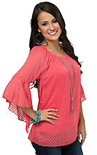 R. Rouge Women's Coral with Tonal Chevron 3/4 Sleeve Chiffon Fashion Top