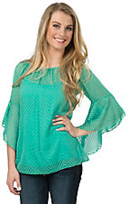 R. Rouge Women's Mint with Tonal Chevron 3/4 Sleeve Chiffon Fashion Top