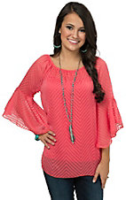 R. Rouge Women's Coral with Tonal Chevron 3/4 Sleeve Chiffon Fashion Top - Plus Sizes
