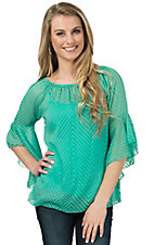 R. Rouge Women's Mint with Tonal Chevron 3/4 Sleeve Chiffon Fashion Top - Plus Sizes