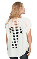 R. Rouge Women's Ivory with Punched Cross Back Short Sleeve Chiffon Top