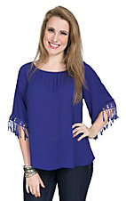 R. Rouge Women's Royal Blue Chiffon with Crochet Cuff 3/4 Sleeve Top
