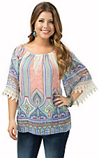 R. Rouge Women's Blue Multicolor Print with Crochet Cuff 3/4 Bell Sleeve Top