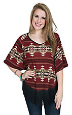 R. Rouge Women's Rust Aztec Print Poncho with Fringe