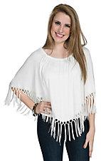 R. Rouge Women's Cream with Fringe Poncho Top