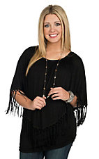 R. Rouge Women's Black with Fringe Poncho Top- Plus Sizes
