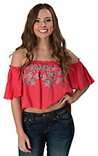 PPLA Women's Coral with Floral Embroidery Off Shoulder Crop Top
