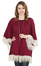 R. Rouge Women's Burgundy Knit with Cream Crochet Cuff & Hem 3/4 Sleeve Top