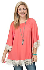 R. Rouge Women's Coral with Cream Fringe Trim 3/4 Sleeve Tunic Top