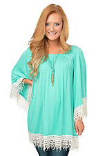 R. Rouge Women's Mint with Cream Fringe Trim 3/4 Sleeve Tunic Top