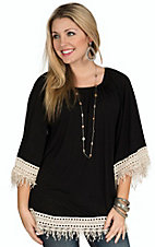 R. Rouge Women's Black Knit with Cream Crochet Cuff & Hem 3/4 Sleeve Fashion Top - Plus Size