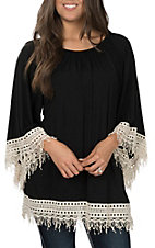R. Rouge Women's Black Knit with Cream Crochet Cuff & Hem 3/4 Sleeve Top