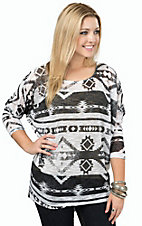 R. Rouge Women's Black & White Aztec Long Dolman Sleeve Top- Plus Sizes