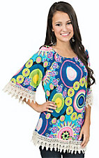 R. Rouge Women's Blue & Neon Print Print with Cream Crochet Cuff & Hem 3/4 Sleeve Top