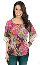 R. Rouge Women's Pink Multicolor Paisley with Cream Crochet Cuff 3/4 Sleeve Top