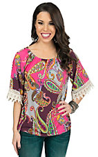 R. Rouge Women's Pink Multicolor Paisley with Cream Crochet Cuff 3/4 Sleeve Top- Plus Sizes