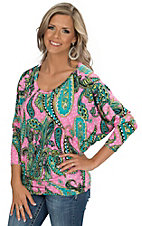 R. Rouge Women's Pink and Turquoise Paisley Print Long Sleeve Dolman Fashion Top