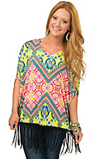 R. Rouge Women's Pink and Yellow Multi Print with Black Fringe 3/4 Dolman Sleeve Fashion Top