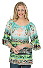 R. Rouge Women's Jade and Brown Ombre Multi Aztec 3/4 Sleeve Fashion Top -  Plus Sizes