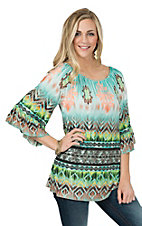 R. Rouge Women's Jade and Brown Ombre Multi Aztec 3/4 Sleeve Fashion Top