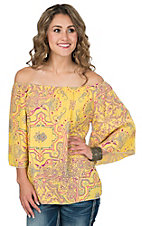 R. Rouge Women's Yellow with Paisely Print Chiffon 3/4 Sleeve Top
