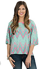 R. Rouge Women's Mint and Neon Pink Chevron Print Split Back 3/4 Sleeve Fashion Top