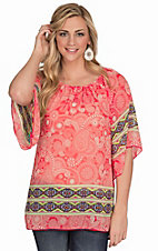 R. Rouge Women's Coral Print with Multicolor Aztec Trim Chiffon 3/4 Sleeve Top
