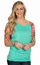 R. Rouge Women's Mint Knit with Multicolor Aztec 3/4 Dolman Sleeves- Plus Sizes
