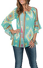 R. Rouge Women's Green Aztec Print Fashion Shirt