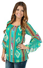 R. Rouge Women's Mint with Multicolor Navajo Print 3/4 Sleeve Chiffon Fashion Top
