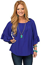 R. Rouge Women's Royal Blue Solid 3/4 Flutter Sleeve Fashion Top