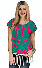 R. Rouge Women's Jade with Neon Pink Cross & Diamond Print Fringe Short Sleeve Top