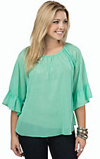 R. Rouge Women's Solid Mint Paisley Pattern 3/4 Sleeve Chiffon Fashion Top